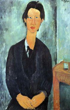 PORTRAIT DE CHAIM SOUTINE Modigliani présenta au peintre Soutine son marchand Zborowski et le peignit plusieurs fois. Soutine est montré ici dans une atmosphère pacifique et méditative inhabituelle à ce jeune homme inquiet. Pour changer, des accessoires – une table et un verre – ont été introduits, tant pour les besoins de la composition que pour suggérer le milieu. La manière de peindre de Soutine, fougueuse et sauvage, était étrangère à Modigliani qui mortellement malade faisait remarquer…