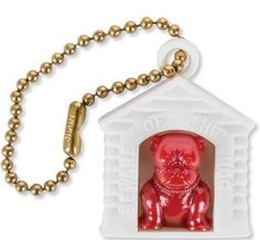 """Keychain BULLDOG IN DOG HOUSE 1950s Mid Century Modern Retro Home Auto   THIS BULLDOG WANTS TO PROTECT YOUR KEYS  If you need a watch dog for your keys, look no further.  These collectible Bulldog Doghouse Keychains are a relic of the 1950s.  Each 1-1/4"""" tall plastic dog house has a tiny bulldog standing in a doorway that reads, """"""""Beware of the Dog"""""""" along its edge.  Sure to be your keys'' best friend.#frenchbulldog #englishbulldog #FREESHIPPING #ATOMICenterprises"""