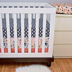 Crib Bedding, Baby Bedding, Bumperless Cribset, Coral, Navy, Peach, Gold Nursery by modifiedtot on Etsy https://www.etsy.com/listing/216203293/crib-bedding-baby-bedding-bumperless