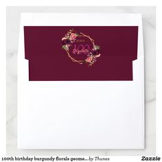 Shop birthday burgundy florals geometric gold envelope liner created by Thunes. Burgundy Flowers, Floral Flowers, Florals, Envelope Box, Envelope Liners, Birthday Party Invitations, Birthday Parties, Gold Envelopes, Milestone Birthdays