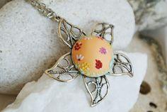 Pastel peach necklace peach flower necklace by LandOfJewellery, $30.00