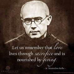 Saint Maximilian Maria Kolbe, O. was a Polish Conventual Franciscan friar, who volunteered to die in place of a stranger in the Nazi German death camp of Auschwitz, located in German-occupied Poland during World War II. Catholic Kids, Catholic Saints, Roman Catholic, Patron Saints, Catholic Quotes, Catholic Prayers, Maximillian Kolbe, St Maximilian, Religious Pictures