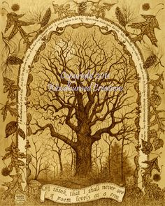 "Woodburning print,  ""Only God Can Make a Tree"", pyrography, woodburned art, tree of life,. $25.00, via Etsy."