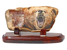 """""""Trouble in Grizzly Land!"""" Scrimshaw on Ancient Walrus Tusk Ivory Artifact by Gary Williams.  -- on ScrimshawGallery.com #scrimshaw"""