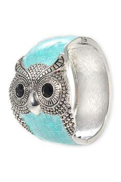 LA Jewelry Owl Hinged Bangle