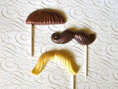 Chocolate Mustache Lollipops: Silver Screen Series