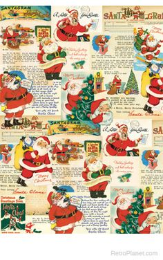 The Letter to Santa Christmas Wrapping Paper from Cavallini is covered in vintage ephemera artwork. High quality paper is great for wrapping and for framing, this sheet of wrapping paper measures x inches. Vintage Christmas Wrapping Paper, Vintage Christmas Images, Christmas Gift Wrapping, Retro Christmas, Vintage Holiday, Christmas Pictures, Christmas Past, Christmas Crafts, Christmas Clothes