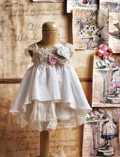 antique dress with shabby chic accents