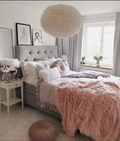 Best Ideas For Home Decor Bedroom Decor Ideas - Is GREY depressing? Bedroom Decor Ideas - Is gray paint going out of style Cute Bedroom Ideas, Cute Room Decor, Girl Bedroom Designs, Room Ideas Bedroom, Small Room Bedroom, Home Decor Bedroom, Girls Bedroom, Blush Bedroom Decor, Fall Bedroom