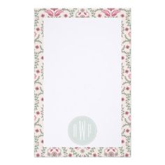Vintage Inspired Pink and Green Pattern Monogram Customized Stationery from Jill's Paperie