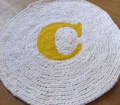 OOAK  Crochet Round  Rug. Upcycled Rug. Monogram by LakeShoreHome, $45.00