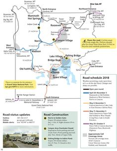 Map for Spring 2018 for Yellowstone National Park South Dakota Vacation, South Dakota Travel, North Dakota, National Parks Map, Grand Teton National Park, Yellowstone National Park, Yellowstone Camping, Yellowstone Vacation, Wyoming Vacation