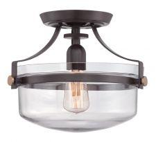 Plafon LAMPA sufitowa PENN STATION QZ/PENNSTAT/F WT Elstead QUOIZEL metalowa OPRAWA industrialna brązowy