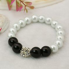 Fashion Glass Pearl Bracelets with Brass Rhinestone Beads