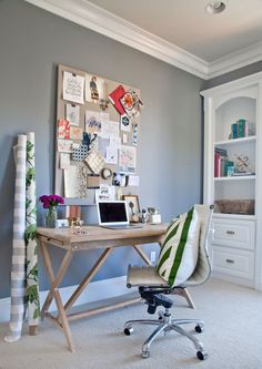 Mini trestle table! Lack of drawers will assist in not accumulating unnecessary clutter. - Shea's Stylish Happy Home Office