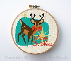 Instant Download Counted cross stitch pattern for a little mid-century modern style retro reindeer for Christmas! You will download a PDF file of
