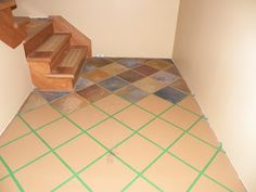 Stonehaven Simple Pleasures: Hand painted Faux Slate Tile Floor - http://simplystonehaven.blogspot.com/2012/06/hand-painted-faux-slate-tile-floor-on.html