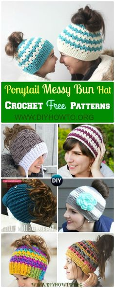 Collection of Trendy Crochet Ponytail Hat Free Pattern, #Crochet Messy Bun Hat, Messy Bun Beanie Patterns via+@diyhowto