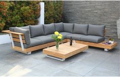 The Seville Luxury outdoor lounge set is made from solid teak with thick seat and back cushions ideal for a designer garden. Garden Furniture, Outdoor Furniture, Outdoor Lounge, Outdoor Decor, Garden Sofa Set, Seville, Garden Design, Cushions, Patio