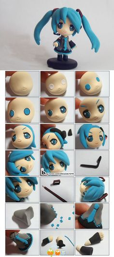 polymer clay blue hair anime girl