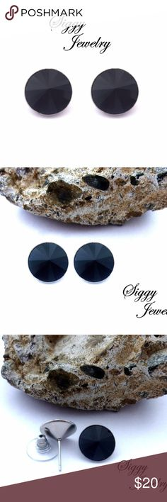 Swarovski® Crystal Jet Black Rivoli Stud Earrings These are chic and trendy black crystal earrings created with genuine Swarovksi jet rivolis in 12mm. The crystals are set into surgical steel hypo-allergenic posts. They include a wide disk backing that will hold the earrings comfortably and snugly in place. Your earrings will arrive gift packaged and ready to gift. Siggy Jewelry is hand made with crystals purchased from official Swarovski® distribution partners. I ship daily. Please message…