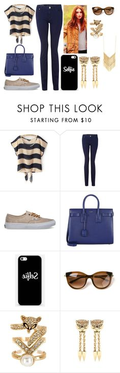 """""""Rose goes out"""" by theefactorygirl ❤ liked on Polyvore featuring DL1961 Premium Denim, Vans, Yves Saint Laurent, Thierry Lasry, Spring Street and Roberto Cavalli"""