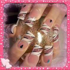 French nails with pink sparkles and nail art