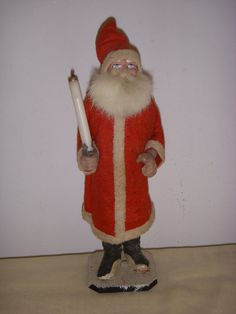 """ANTIQUE 10"""" GERMAN / GERMANY PAPER MACHE SANTA HOLDING CANDLE CANDY CONTAINER  picclick.com"""