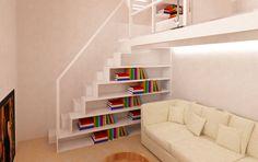scala libreria : Pasillos, vestíbulos y escaleras modernos de Azzurra Lorenzetto