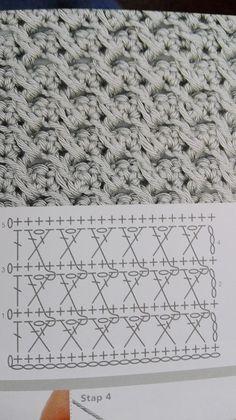 Crochet Motif Patterns, Granny Square Crochet Pattern, Crochet Diagram, Crochet Stitches Patterns, Crochet Chart, Stitch Patterns, Knitting Patterns, Crochet Cable, Crochet Dishcloths