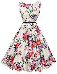 Oferta: 24.99€. Comprar Ofertas de Mujeres Hepburn estilo completo falda vestidos de fiesta vestido de novia Floral-21 barato. ¡Mira las ofertas!