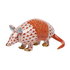 "Herend porcelain armadillo from Hungary is handmade and handpainted with 24K gold accents. Measures 3"" x 1 ½"" x 1 3 ⁄ 8 "" h."