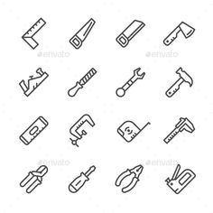 Set Line Icons of Hand Tool by moto-rama Set Line Icons of Hand Tool Isolated on White �20Available RGB color �20Good choice for use in infographic and interface Attached