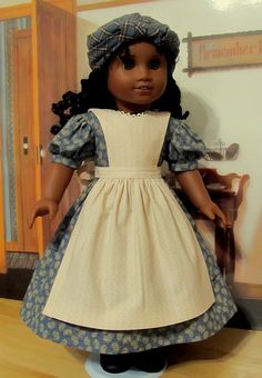 """1853 3pc.Orphanage Outfit: Gown, Apron and Kerchief ( Tignon) - Made to Fit 18"""" American Girl Doll Cecile, Marie-Grace."""