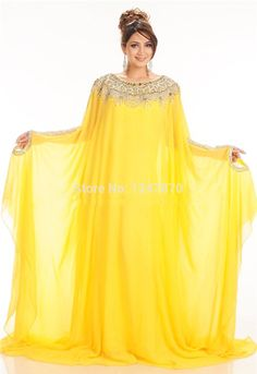 Specials New Long Beaded Arabic Kaftan Evening Prom Dresses Yellow Arabic Abaya Dubai Sexy A-Line Evening Dresses With Long Sleeves From High-Ranking Online Seller Dailyspecialsdress Arabic Wedding Dresses, Arabic Dress, Wedding Dresses For Sale, A Line Evening Dress, Evening Dresses, Prom Dresses, White Sundress Wedding, Kaftan Designs, Eid Outfits