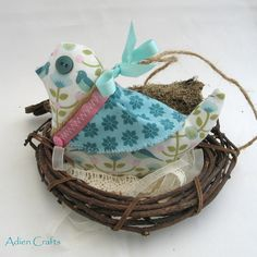 Lavender Bird Hanging Decoration Two Turtle Doves Fabric £8.50