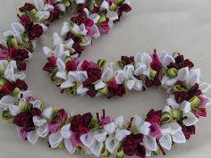 Dark cherry ribbon lei by AlohaRibbonCrafts on Etsy