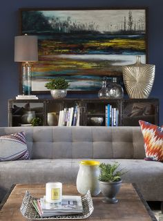 How To Decorate a Sideboard: If you are using a vertical piece of art, keep it contained within the length of the sideboard. {{Hello Metro}}