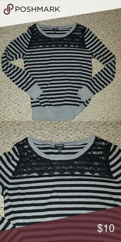 c52de490b7e Torrid striped and lace sweater Love this comfortable striped sweater from  torrid. Has gorgeous lace