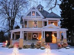 Beautiful Christmas house with wrap-around porch. Victorian Christmas, Christmas Home, Christmas Lights, White Christmas, Christmas Decorations, Outdoor Christmas, Christmas Christmas, Holiday Lights, House Decorations