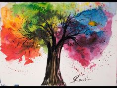Rainbow Tree Watercolor Painting - YouTube