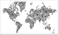 World Map: Design in Black & White