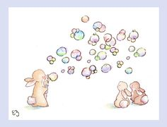 I think those little bunnies will start chasing those bubbles in a second........    Printed on 8.5in X 11in paper, the image is formatted to fit an 8in X 10in frame opening, and comes packaged in a bend resistant mailer and cellophane sleeve and cardboard support. Printed on 100% archival quality Epson matte paper, with archival pigment inks.    Matte shown not included with print. Please convo me if you have any questions.
