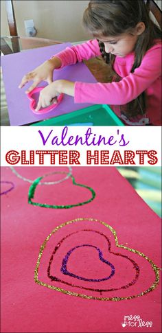 Valentine's Glitter Hearts - a fun Valentine idea for kids! These hearts would be perfect for Valentine's Day cards.