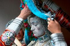 """Lifting the veil of a Kosovo bride. Lubinje brides of Kosovo are meticulously dressed and made up for their wedding day. It's done to ward off the """"evil eye, and discourages gossip and speculation."""""""