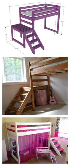 DIY Camp Loft Bed with Stair