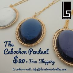 The Cabochon Pendant // On Sale $20 +free shipping please call 310-277-4713