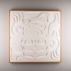"""""""Bear"""" White high gloss lacquered wood panel by Sabina Hill and Tlingit artist Mark Preston"""