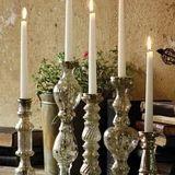 Antiqued Silver Glass Taper Candle Holder Mercury Glass Candle Holders, Taper Candle Holders, Tea Light Holder, Tea Lights, Antique Silver, Candles, Antiques, Handmade, Burns
