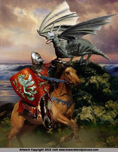 King Uther and the Dragon's Breath. From King Arthur and the Knights of the Round Table: Paintings of the Arthurian legends by Howard David Johnson. King Arthur Legend, Legend Of King, Medieval Knight, Medieval Fantasy, Gi Joe, Merlin, Breathing Fire, Mists Of Avalon, Roi Arthur
